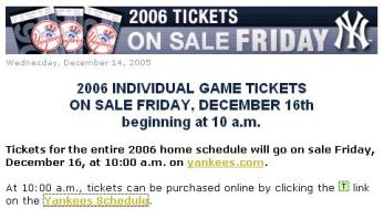 yankees ticket