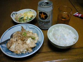 麻婆豆腐とポテトサラダ