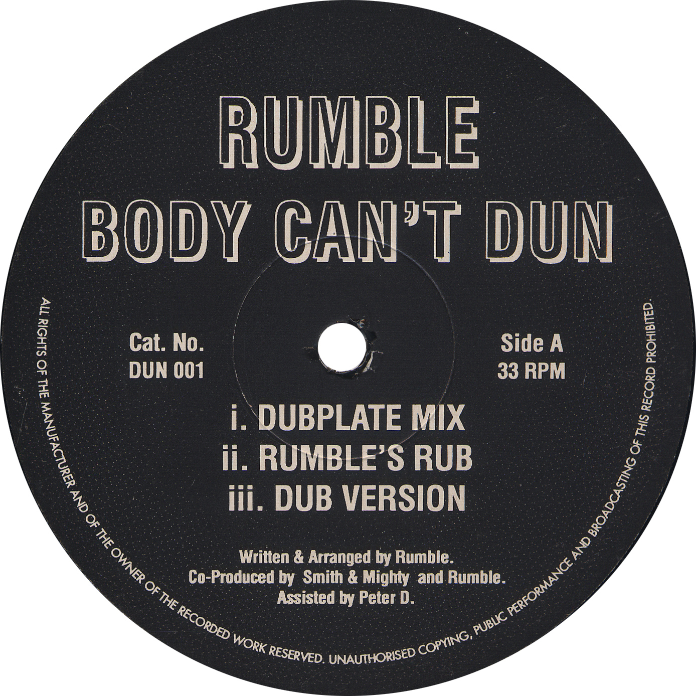 RUMBLE / BODY CAN'T DAN