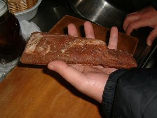 熟成完了の豚バラ肉