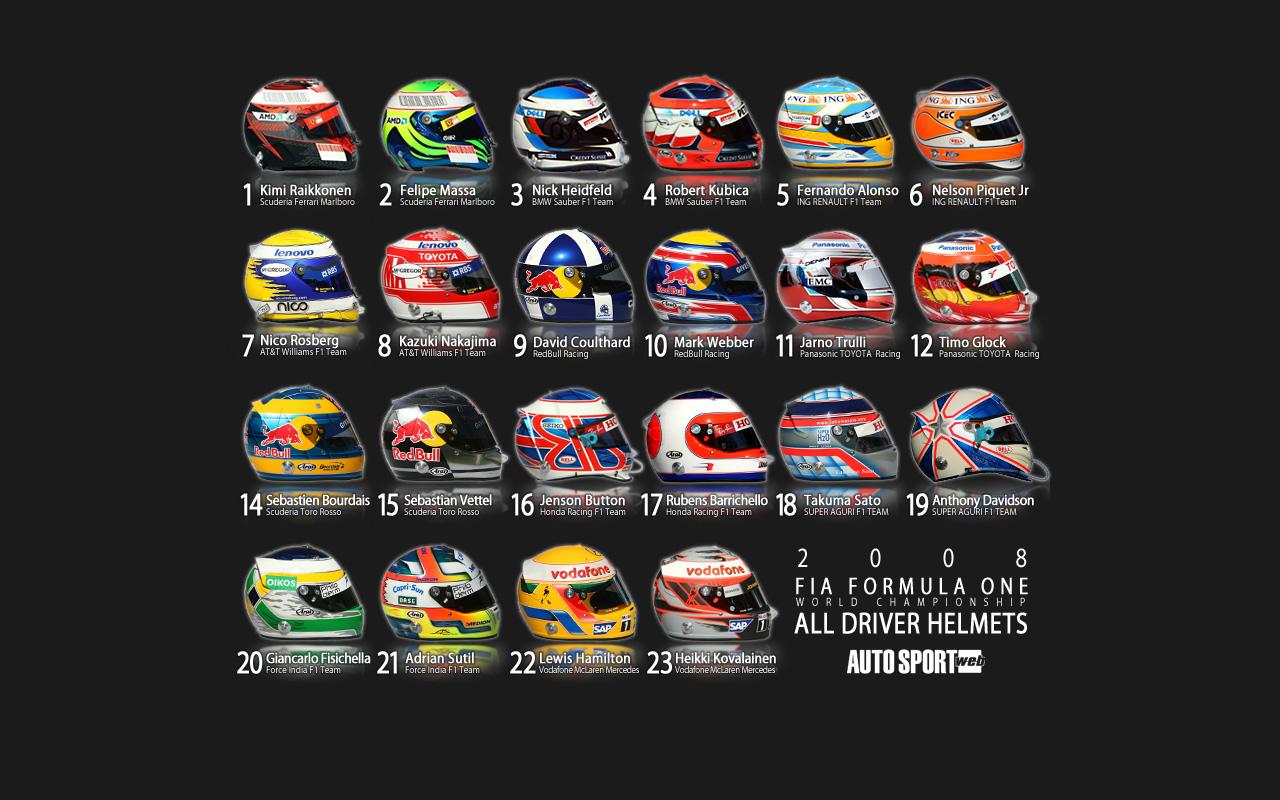 F1 ドライバーのヘルメット一覧壁紙 Sonic Fields