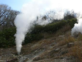 野趣溢れる野天風呂近くの噴煙だけでも見る価値あり