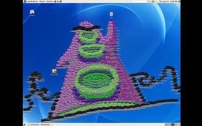 デスクトップ画面にアイコンを並べて描いたクリエイティブな絵06