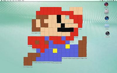 デスクトップ画面にアイコンを並べて描いたクリエイティブな絵01