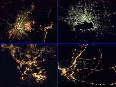 宇宙ステーションから見た世界の大都市の夜景00