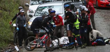 マーク・ウェバー、交通事故現場、タスマニア・チャレンジ・イベント4日目、2008年11月22日