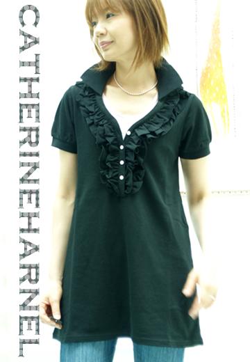 キャサリンハーネル 黒 スキッパーポロ ¥14700