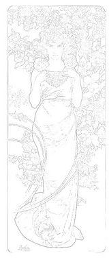 ミュシャの大人のぬり絵「花 ローズ」