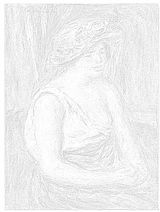 オーギュスト・ルノアール 「麦わら帽子の女」ぬり絵