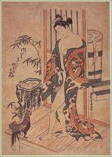奥村政信   「湯上り美人と鶏」 原画