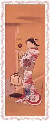 西川祐信の大人のぬり絵 「柱時計と美人図」原画