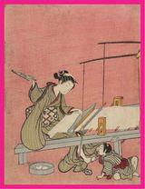鈴木春信の大人のぬり絵 機織り原画