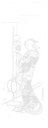 西川祐信の大人のぬり絵 「柱時計と美人図」ぬり絵