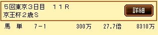 第9S:11月3週 京王杯2歳S 的中馬券