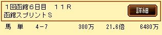 第6S:7月1週 函館スプリントS 的中馬券