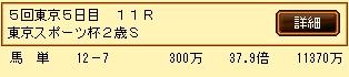 第9S:11月4週 東京スポーツ杯2歳S 的中馬券