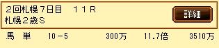 第6S:10月1週 札幌2歳S 的中馬券