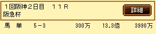 第5S:3月1週 阪急杯 的中馬券