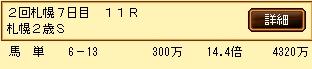 第8S:10月1週 札幌2歳S 的中馬券