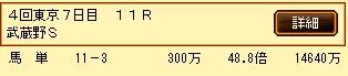第4S:11月1週 武蔵野S 的中馬券
