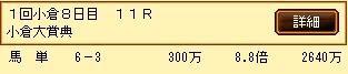 第6S:2月2週 小倉大賞典 的中馬券