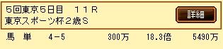 第10S:11月4週 東京スポーツ杯2歳S 的中馬券