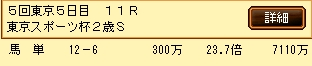 第5S:11月4週 東京スポーツ杯2歳S 的中馬券