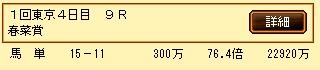 第4S:今日の好配当 2月2週 日曜東京9R