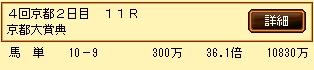 第9S:10月2週 京都大賞典 的中馬券