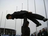練習中の岡村選手