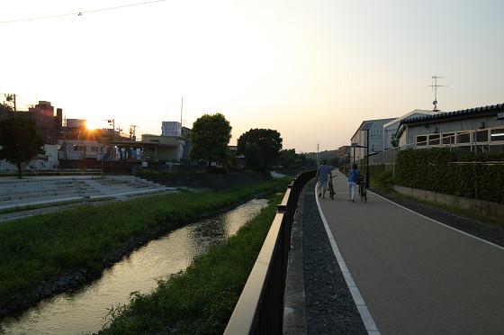 夕暮れの遊歩道