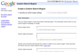 Google Custom Search Engine 作成画面1