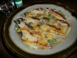穴子と黄ニラとエンドウ豆の卵とじの完成