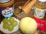 清水白桃、桃太郎ブドウ、蜂蜜アイスクリームの材料