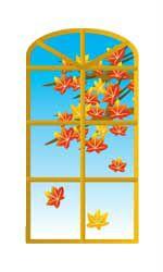 秋の季節の窓