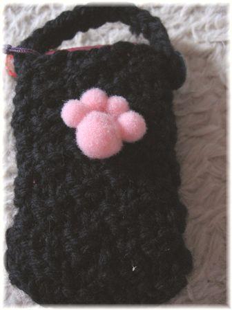 プレゼント 手編みの携帯ケース
